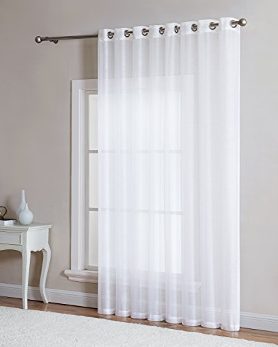 One Grommet (Grommet Semi-Sheer - 1 Extra Wide Patio Curtain Panel - 102 Inch Wide - 84 Inch Long - Natural Light Flow, and Durable Material - Ideal For Sliding and Patio Doors (Patio 102