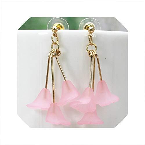 (hdfhdfhd 2019 Cute Bells Flowers Earrings Summer Style Long Earring for Women Gift Imitation Rhodium Plated)