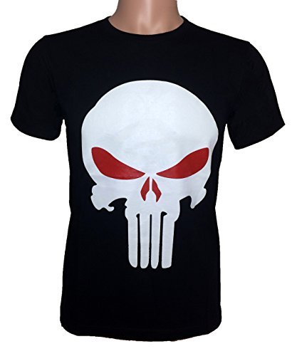 Adult Tomb Fighter Costumes (Ranger Return Men's The Skull T Shirt Tee Costume - Black and Red (Small))