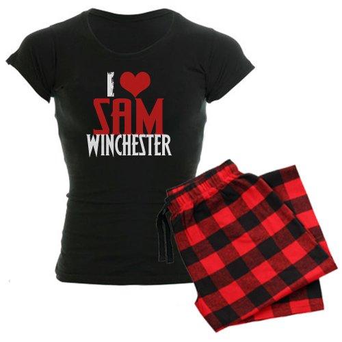 CafePress I Love Sam Winchester Women's Dark Pajamas Women's Dark Paja - XL With Red Plaid Pant