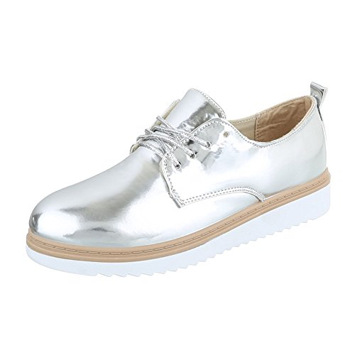 Ital-Design Women's Lace-Up Flats Silber IhkyNGHuhL