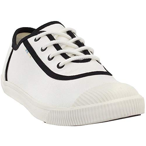 - TOMS Women's Carmel White/Black Canvas/Toe Cap 8 B US