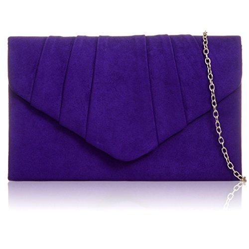 Xardi London New Faux Suede Leather Women Clutch Bridesmaid Envelope Ladies Evening Prom Bags Purple