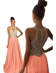 Dressytailor Women's Halter A-Line Long Chiffon Prom Dress Beaded Formal Evening Gown