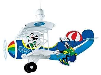 Dalber 54712 - Lámpara de pared para habitación infantil, diseño de avión con Mickey Mouse