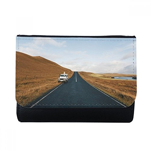 Autumn Car Country Road Travel Sky Grass Multi-Function Faux Leather Wallet Card Purse Gift