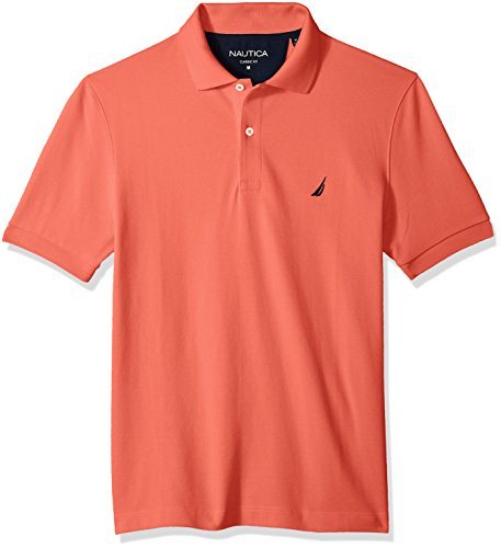 Nautica Men's Classic Short Sleeve Solid Cotton Pique Polo Shirt, Dreamy Coral Medium