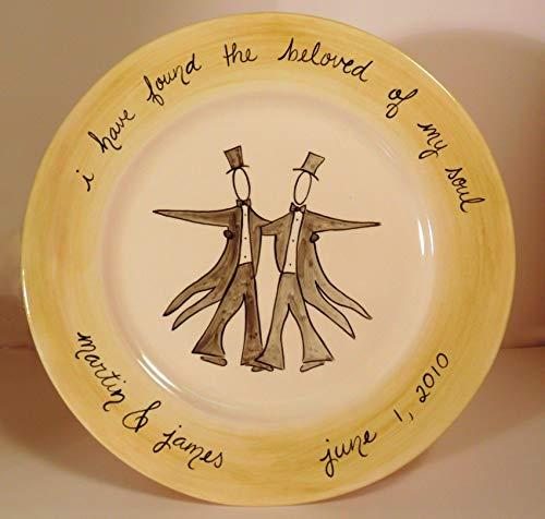 Custom Ceramic Wedding Platter for two Grooms