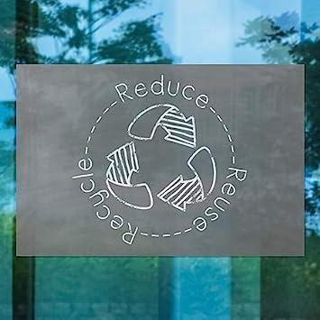 36x24 Black Chalkboard Window Cling CGSignLab Circle Reduce Reuse Recycle