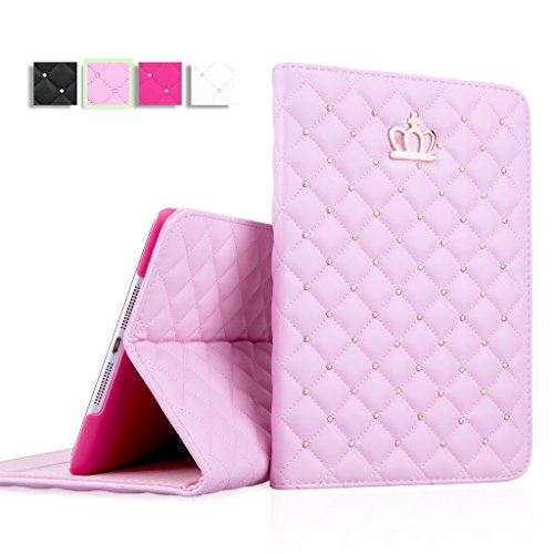 iPad Mini Case, iPad Mini 2 Case, iPad Mini 3 Case, IDEGG Fashion PU Leather Crown Design Bling Protective Smart Stand Case Cover with Auto Wake/Sleep for Apple iPad Mini 1/2/3 (Pink) (Pink Ipad Mini Case compare prices)