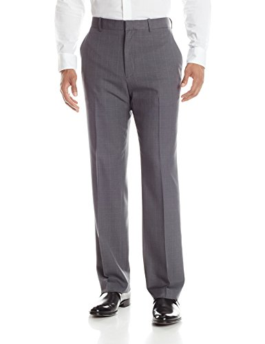 Perry Ellis Men's Portfolio Plaid Modern Fit Performance Pant, Charcoal Plaid, 38x32