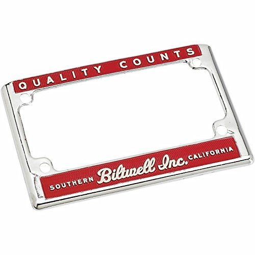 Biltwell LP-ZIN-DC-QC Chrome/Red Quality Counts License Plate Frame