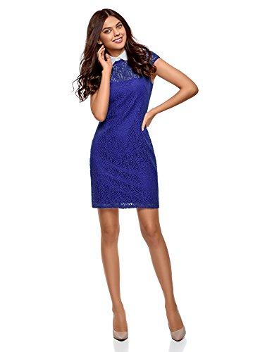 Vestido con Azul de Contraste Encaje Ultra oodji Cuello Mujer 7510b en XxqEzqpwg