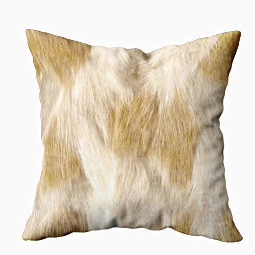 EMMTEEY Home Decor Throw Pillowcase for Sofa Cushion Cover, Halloween 112 Leather Faux Fur Fox Beige White Decorative Square Accent Zippered and Double Sided Printing Pillow Case Covers 16X16Inch (Art Deco Leather)