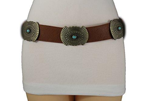 TFJ Women Western Concho Fashion Elastic Belt Hip Waist Gold Metal Charms S M Brown - Brown Leather Concho Belt