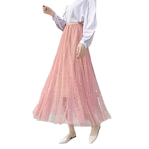 (Women Ladies Long Tutu Skirts Sequins Stars Tulle Skirts A-line Swing Skirts High Waist Pleated Maxi Skirts (Pink))