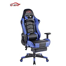 [UPDATED VERSION]Top Gamer Ergonomic Gaming Chair PC Computer Chairs for Gaming with Footrest(Blue/Black)