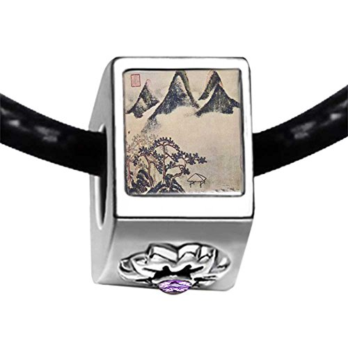 Mountains And Pines In Spring Painting Light Amethyst Crystal June Birthstone Flower Charm Bracelets