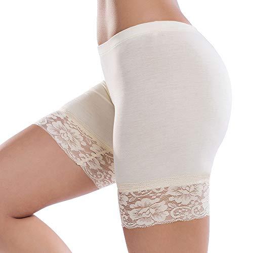 JTANIB Slip Shorts for Women Mid-Thigh Leggings Lace Plus Size Undershorts Nude -