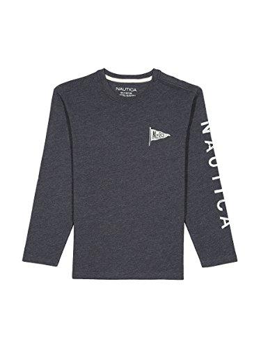 Nautica Boys' Long Sleeve Solid Crew-Neck T-Shirt, Sport Navy, - Neck Crew Solid Tee
