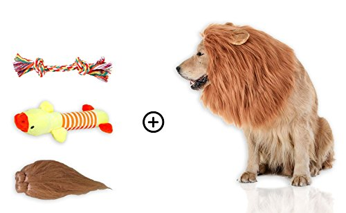 Lion Mane Costume for Medium-Large Size Dogs + 2 Bonus Dog Toys (L) + Lion Tail. A Perfect Party cosplay Halloween Wig Clothes Gift For Big Dog. Realistic,Comfortable, Funny, Washable Brown Lion Mane (Halloween Ii Clean Mask)