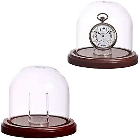 Large Glass Pocket Watch Display Dome with Walnut Stained Wood Base