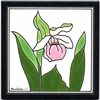 product image for FGB-26 Lady Slipper Tile, Lady Slipper Wall Plaque, Lady Slipper Trivet by Besheer Art Tile, Bedford New Hampshire. U.S.A.