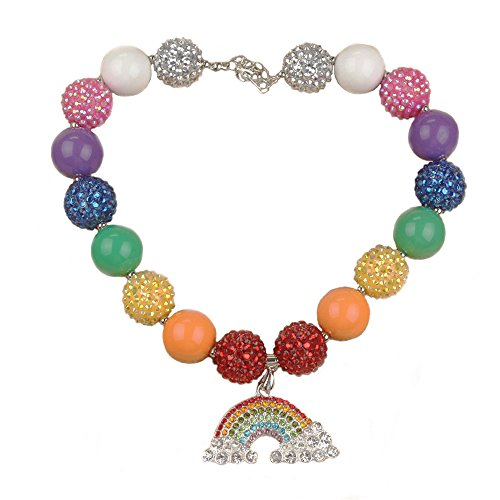 Acrylic Pearl Necklace (Habily Rainbow Chunky Bubblegum Necklace Colorful Fashion Beads with Gift Box for Baby Girls)