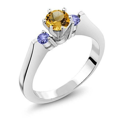Stone Ring Cut Citrine 3 (0.61 Ct Round Yellow Citrine Blue Tanzanite 925 Sterling Silver 3-Stone Ring)