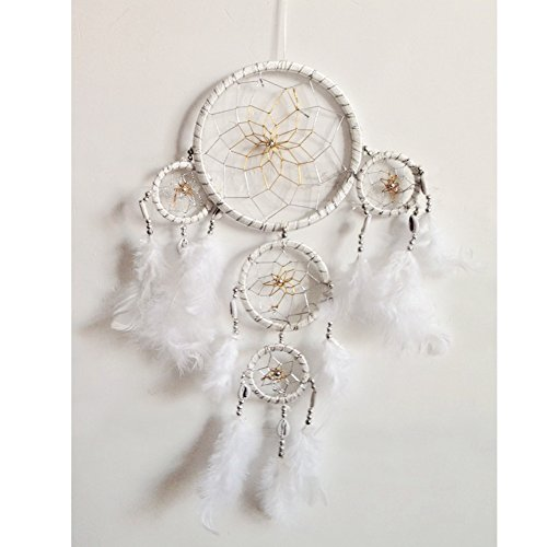 Handmade Dream Catcher Traditional Dreamcatcher Feather Wall Hanging Decoration Large, White
