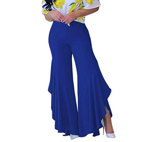 1970's Flared Pants - GUOLEZEEV Women Comfy Chic Ruffle Flared Bottom Wide Leg Pants Blue M