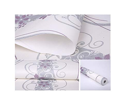 Paintyty Wallpaper Simple Modern Curved Stripe Vines and Flowers Wallpaper Children's Room Bedroom Full Wallpaper Porcelain Carved Non-Woven Fabric,B