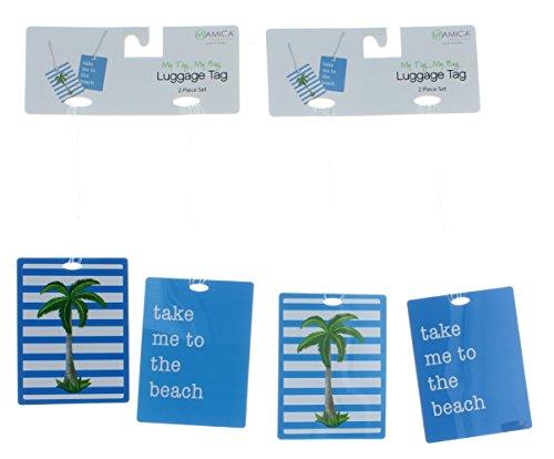 Miamica Luggage Tags 2 Piece Set - Palm Tree Print, Turquoise, One...