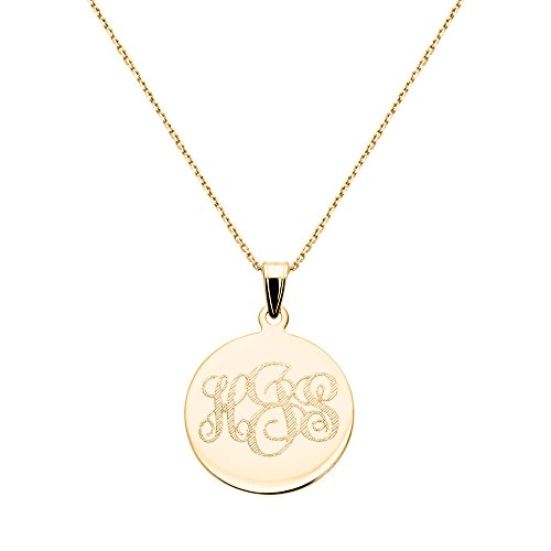 18.5mm 14K Solid Yellow Gold Womens Personalized Three Letter Initial Monogram 18.5mm Round Disk Pendant Cable Chain Necklace