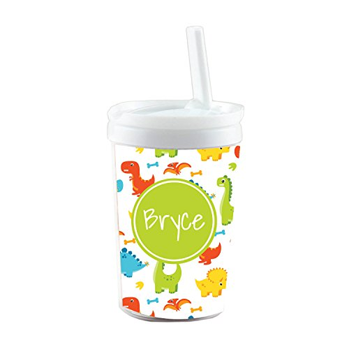 Personalized Dinosaur - Multicolored Dinosaurs Personalized Built in Straw Tumbler