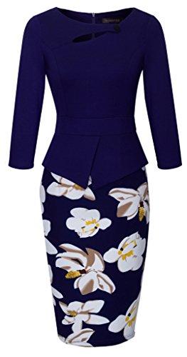 HOMEYEE Women's Elegant Chic Bodycon Formal Dress B288 (3XL, C-Dark Blue)