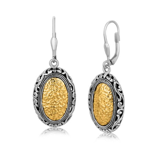 18K Yellow Gold and Sterling Vintage Style Oval Hammered (Hammered Gold Oval Earrings)