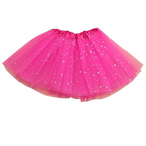 (Csbks Girls Sparkle Layered Tulle Tutu Skirt Princess Ballet Dance Mini Tutus Rose Red)