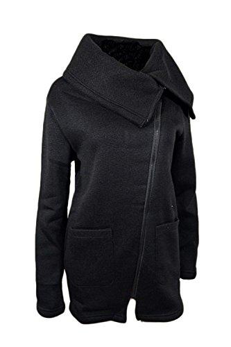 Manica Autunno Sottile Lunga Cerniera Formato Più Il Giacca Donne Nero Delle Di Irregolare Sweatershirt Laterale rUZAr