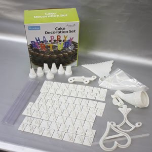 Cake Decorating Icing Kit includes 7 nozzles, Icing Bags, Letters