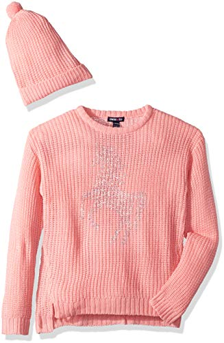 (Limited Too Girls' Little Chenille Glitter Sweater with Hat, Peach, 5/6)