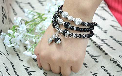 Black Onyx Round Beads   Elastic Line Cute Peanut Charms Bracelet   Fashion Woman Jewelry (1Pc)