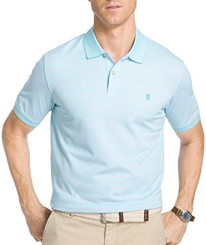IZOD Men's Striped Knit Golf Polo Shirt (XX-Large, Blue Radiance) (Izod Striped Polo Shirt)