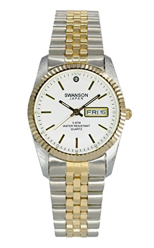 Swanson Japan Men's Two-Tone Day-Date Watch White Dial with Travel Case by Swanson Japan (Image #1)