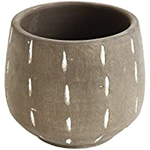 Creative Co-op DA7730 Glazed Terracotta Planter with Hand Painted Lines