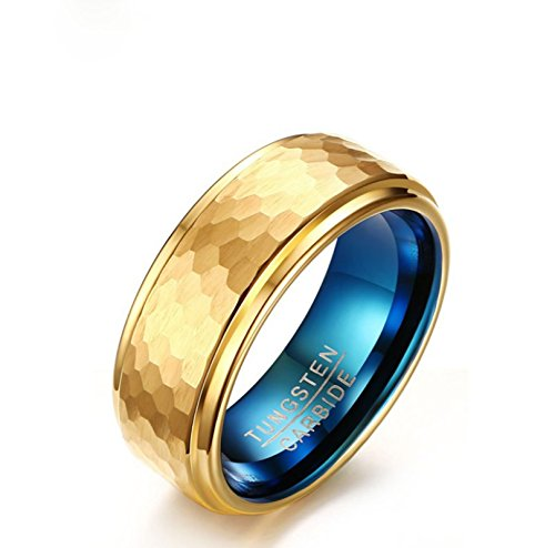EoCot 8MM Tungsten Carbide Ring for Men Hammered Comfort Fit Faceted Wedding Band Polished Size 10