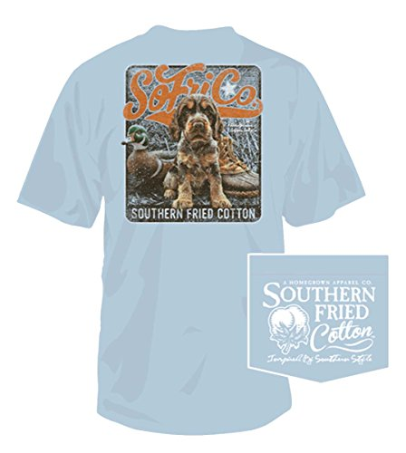 Southern Fried Cotton Mens Rusty Short Sleeve Cotton T-Shirt-Southern Sky-Small