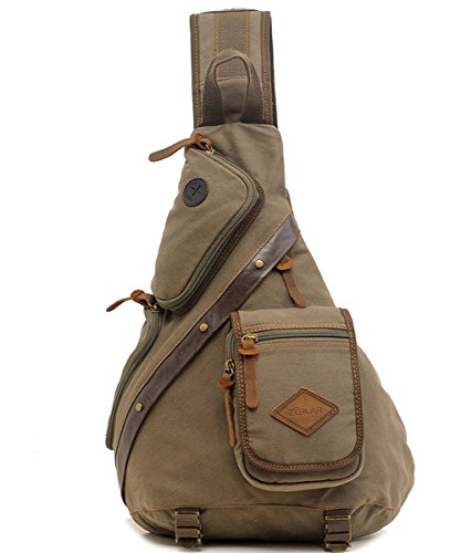 Zerlar Men's Chest Pack Crossbody Bag Vintage Canvas Shoulder Sling Bag Rucksack