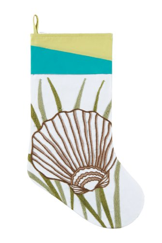 Scallop Seashell in Seaweed White Christmas Holiday Stocking