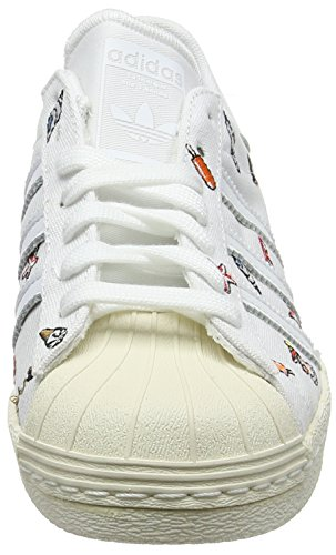 adidas Women's Superstar 80s Low-Top Sneakers White (Footwear White/Footwear White/Off White) ZXJwNi